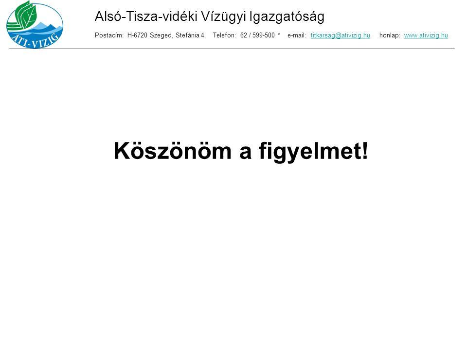 Köszönöm a figyelmet! Alsó-Tisza-vidéki Vízügyi Igazgatóság Postacím: H-6720 Szeged, Stefánia 4. Telefon: 62 / 599-500 * e-mail: titkarsag@ativizig.hu
