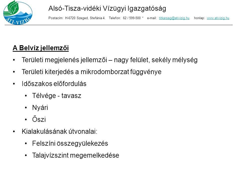 A belvizekkel kapcsolatos károk: Külterületi károk: felületi elöntésekben keletkező károk talaj káros víztartalma mezőgazdasági munkák elmaradása miatti károk termésben keletkező károk élet- és vagyonbiztonságban keletkező károk Alsó-Tisza-vidéki Vízügyi Igazgatóság Postacím: H-6720 Szeged, Stefánia 4.