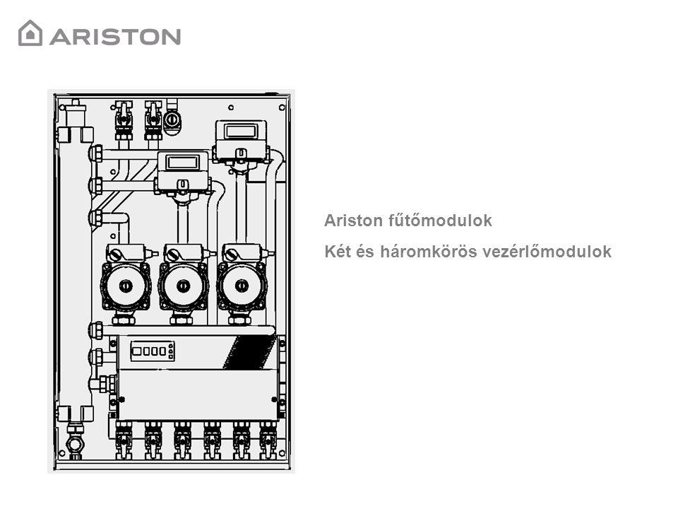 MGM-II-es fűtőmodul egység Cikkszám: 3318288 Műszaki leírás: -Egy magas és egy alacsonykör vezérlése -Bus kommunikáció Ariston Galileo (Új) kazánokkal -Dobozba beépítve hidraulikus váltóval együtt -Automata légtelenítő és leeresztő szelep -Szilárd tüzelésű kazán vezérlése