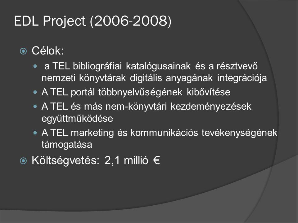 EDL Project (2006-2008)  Célok: a TEL bibliográfiai katalógusainak és a résztvevő nemzeti könyvtárak digitális anyagának integrációja A TEL portál többnyelvűségének kibővítése A TEL és más nem-könyvtári kezdeményezések együttműködése A TEL marketing és kommunikációs tevékenységének támogatása  Költségvetés: 2,1 millió €