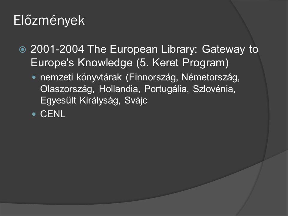 Előzmények  2001-2004 The European Library: Gateway to Europe's Knowledge (5. Keret Program) nemzeti könyvtárak (Finnország, Németország, Olaszország