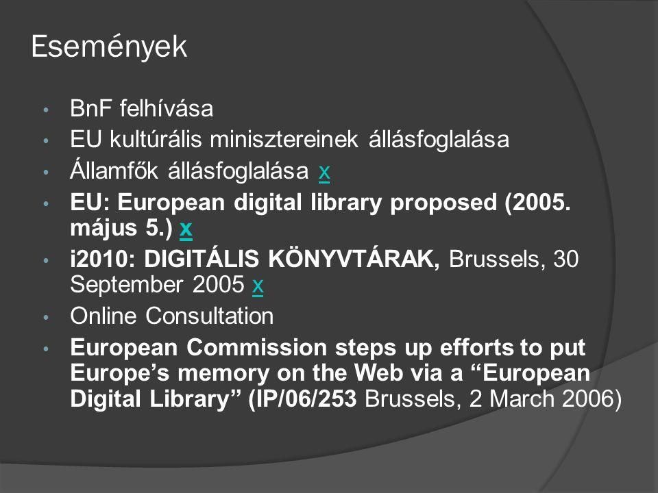 Események BnF felhívása EU kultúrális minisztereinek állásfoglalása Államfők állásfoglalása xx EU: European digital library proposed (2005. május 5.)