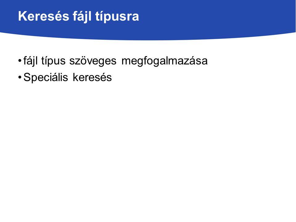 Keresés fájl típusra fájl típus szöveges megfogalmazása Speciális keresés