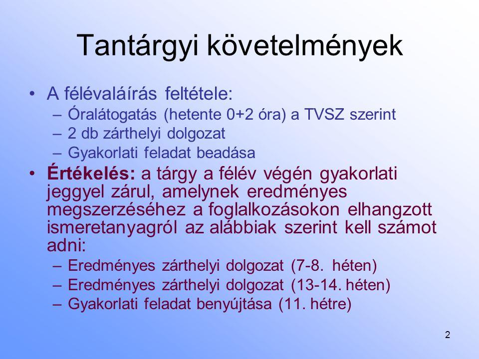 2 Tantárgyi követelmények A félévaláírás feltétele: –Óralátogatás (hetente 0+2 óra) a TVSZ szerint –2 db zárthelyi dolgozat –Gyakorlati feladat beadás