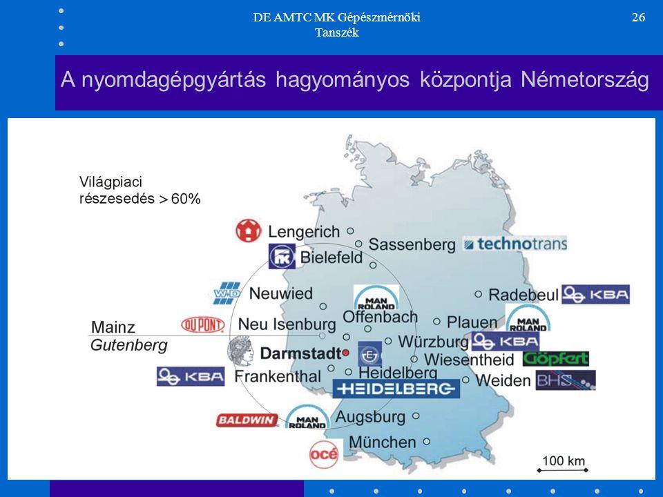 DE AMTC MK Gépészmérnöki Tanszék 26 A nyomdagépgyártás hagyományos központja Németország