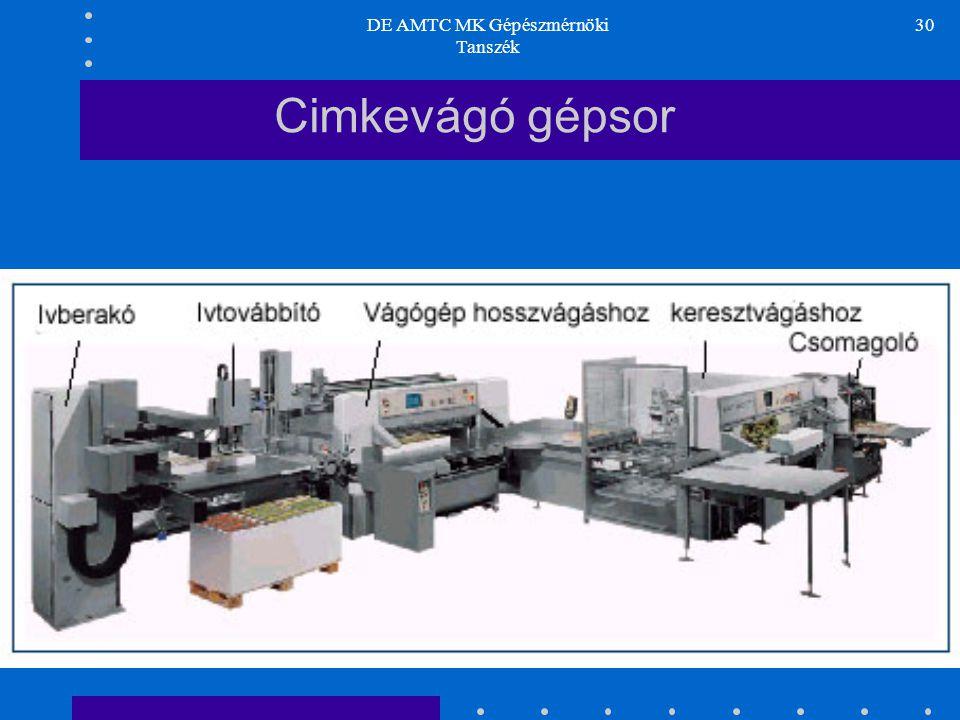 DE AMTC MK Gépészmérnöki Tanszék 30 Cimkevágó gépsor