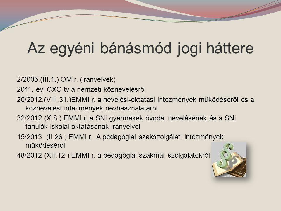 Az egyéni bánásmód jogi háttere 2/2005.(III.1.) OM r. (irányelvek) 2011. évi CXC tv a nemzeti köznevelésről 20/2012.(VIII.31.)EMMI r. a nevelési-oktat