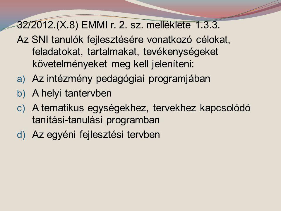 32/2012.(X.8) EMMI r. 2. sz. melléklete 1.3.3. Az SNI tanulók fejlesztésére vonatkozó célokat, feladatokat, tartalmakat, tevékenységeket követelmények