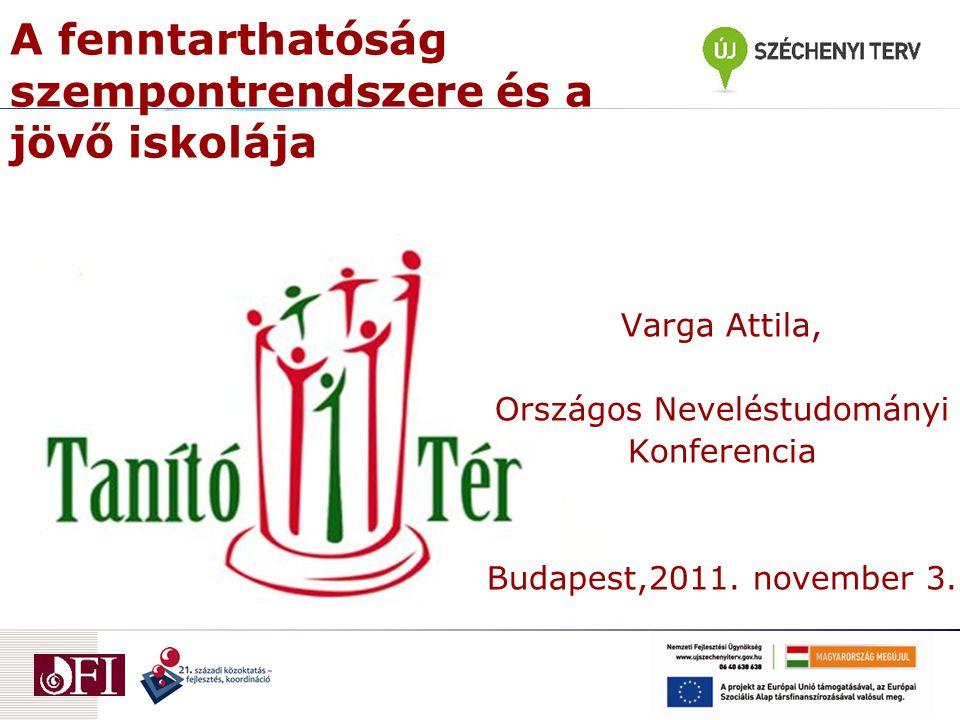 A fenntarthatóság szempontrendszere és a jövő iskolája Varga Attila, Országos Neveléstudományi Konferencia Budapest,2011.