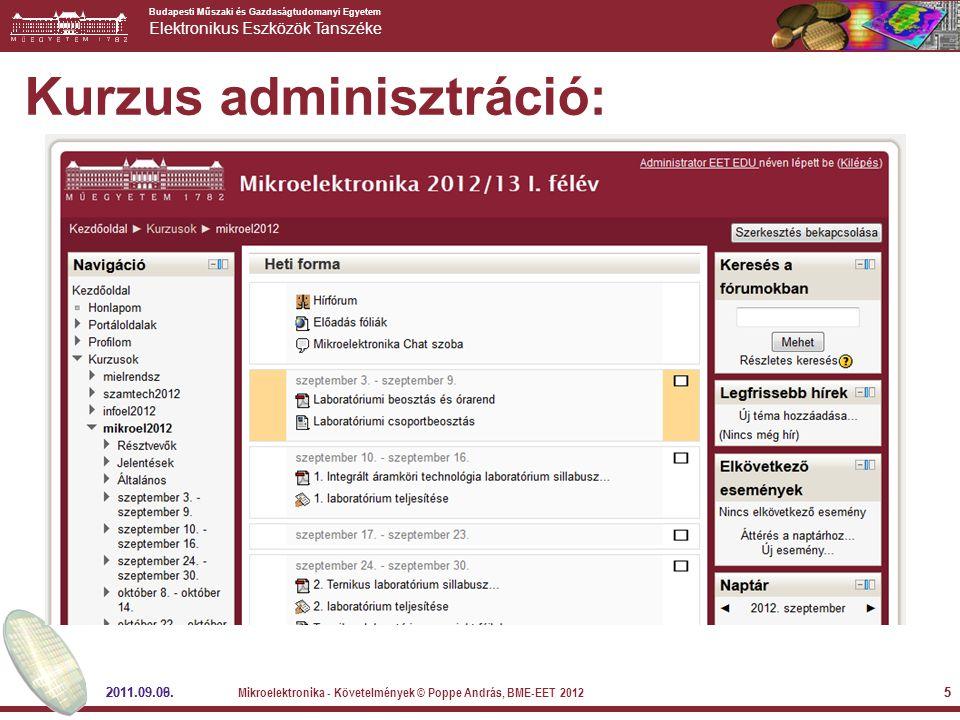 Budapesti Műszaki és Gazdaságtudomanyi Egyetem Elektronikus Eszközök Tanszéke 2011.09.09.