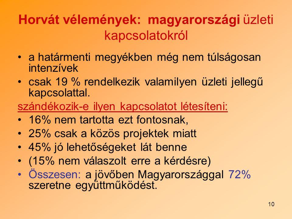 10 Horvát vélemények: magyarországi üzleti kapcsolatokról a határmenti megyékben még nem túlságosan intenzívek csak 19 % rendelkezik valamilyen üzleti