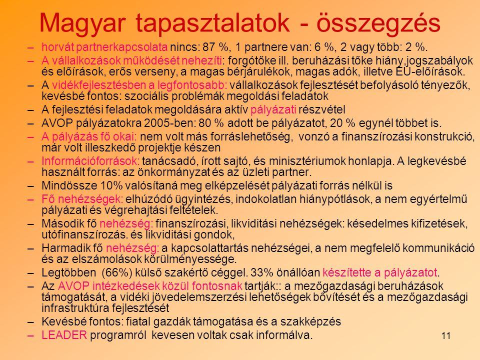 11 Magyar tapasztalatok - összegzés –horvát partnerkapcsolata nincs: 87 %, 1 partnere van: 6 %, 2 vagy több: 2 %. –A vállalkozások működését nehezíti: