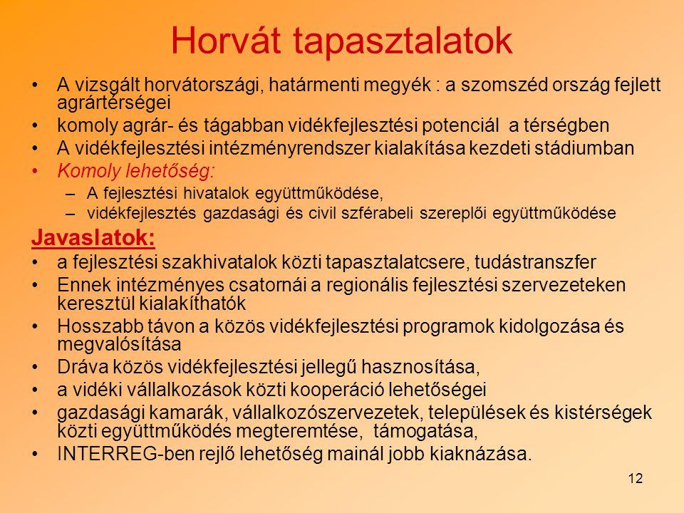 12 Horvát tapasztalatok A vizsgált horvátországi, határmenti megyék : a szomszéd ország fejlett agrártérségei komoly agrár- és tágabban vidékfejleszté
