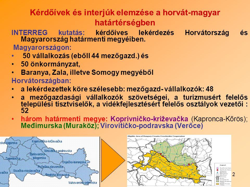 3 A felmérés célja a vidékfejlesztésben közreműködő határmenti megyékben tevékenykedő szervezetek és vállalkozások állapotának a felmérése és összehasonlítása 100-100 kérdőív és 15-15 interjú a határ mindkét oldalán Horvátországi kutatás fókusza: vidékfejlesztés új stratégiájának fejlesztése Horvátországban 2006 szept.-ben induló SAPARD-al kapcsolatos, a felkészülés megyei, városi, falusi szinteken működő intézmények Eddigi vidékfejlesztési részvétel (intézmények, vállalkozások)