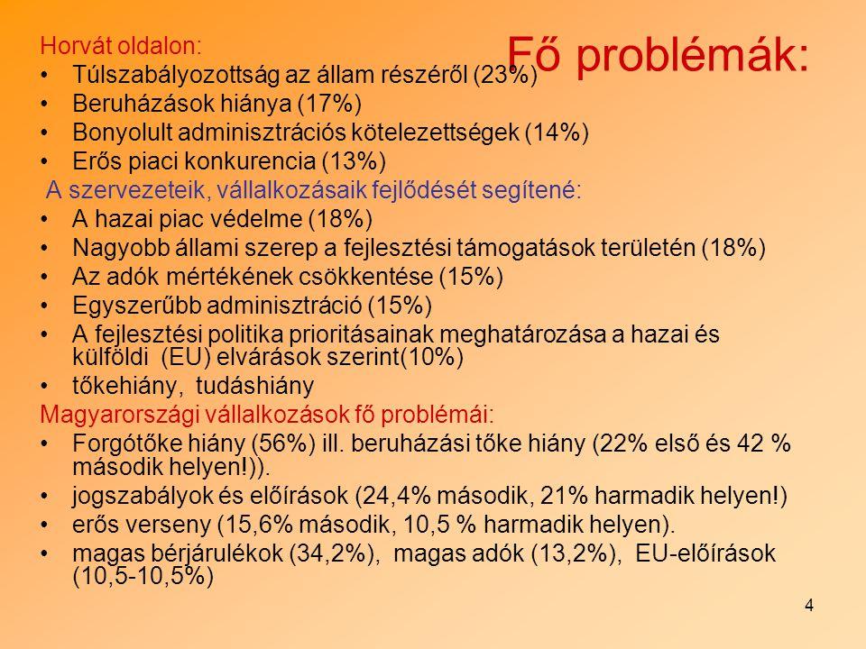 4 Fő problémák: Horvát oldalon: Túlszabályozottság az állam részéről (23%) Beruházások hiánya (17%) Bonyolult adminisztrációs kötelezettségek (14%) Er