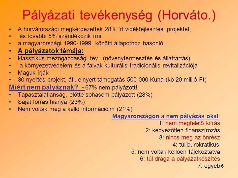 6 Pályázati tevékenység (Horváto.) A horvátországi megkérdezettek 28% írt vidékfejlesztési projektet, és további 5% szándékozik írni. a magyarországi