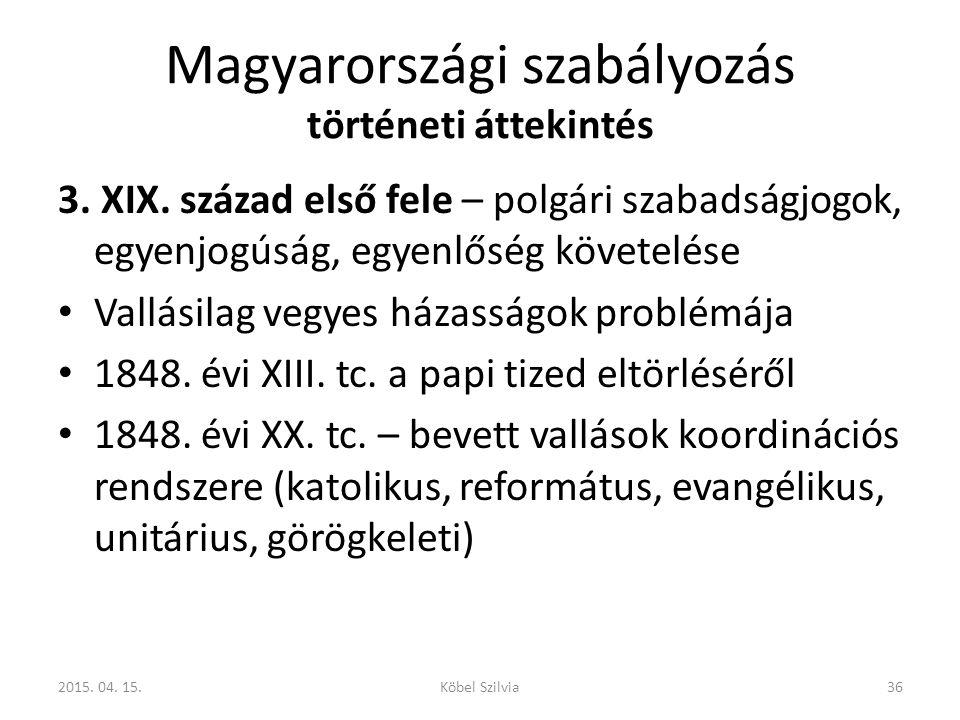Magyarországi szabályozás történeti áttekintés 3. XIX. század első fele – polgári szabadságjogok, egyenjogúság, egyenlőség követelése Vallásilag vegye