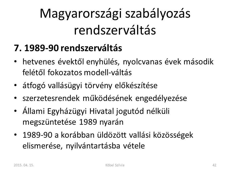 Magyarországi szabályozás rendszerváltás 7. 1989-90 rendszerváltás hetvenes évektől enyhülés, nyolcvanas évek második felétől fokozatos modell-váltás