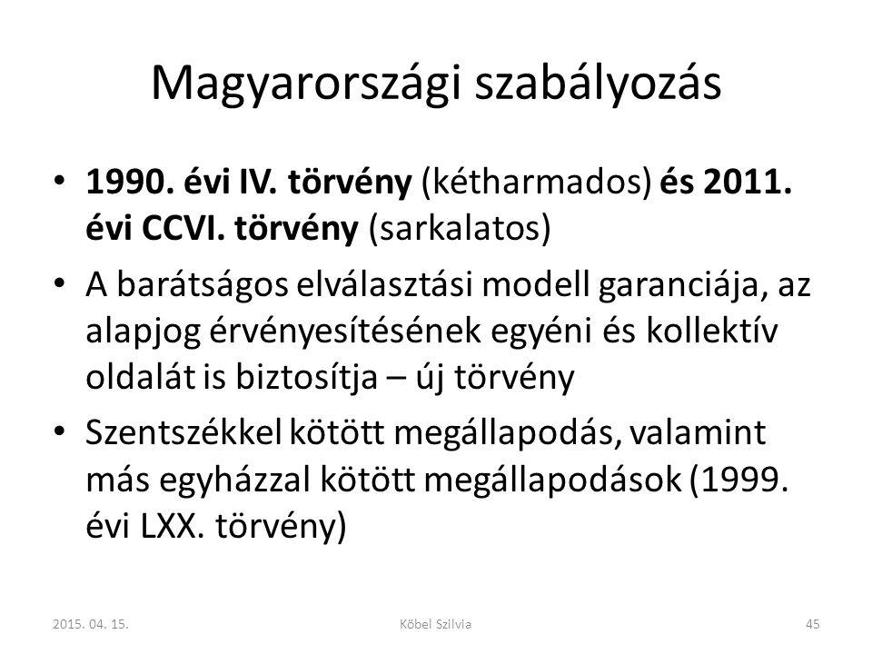 Magyarországi szabályozás 1990. évi IV. törvény (kétharmados) és 2011. évi CCVI. törvény (sarkalatos) A barátságos elválasztási modell garanciája, az