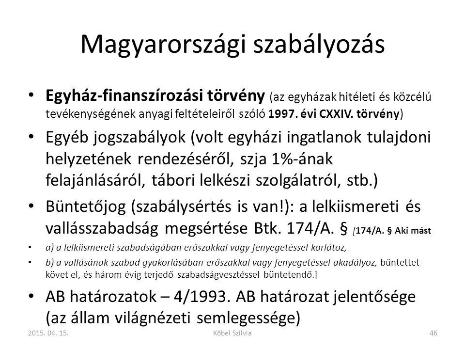 Magyarországi szabályozás Egyház-finanszírozási törvény (az egyházak hitéleti és közcélú tevékenységének anyagi feltételeiről szóló 1997. évi CXXIV. t