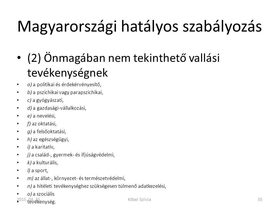 Magyarországi hatályos szabályozás (2) Önmagában nem tekinthető vallási tevékenységnek a) a politikai és érdekérvényesítő, b) a pszichikai vagy paraps