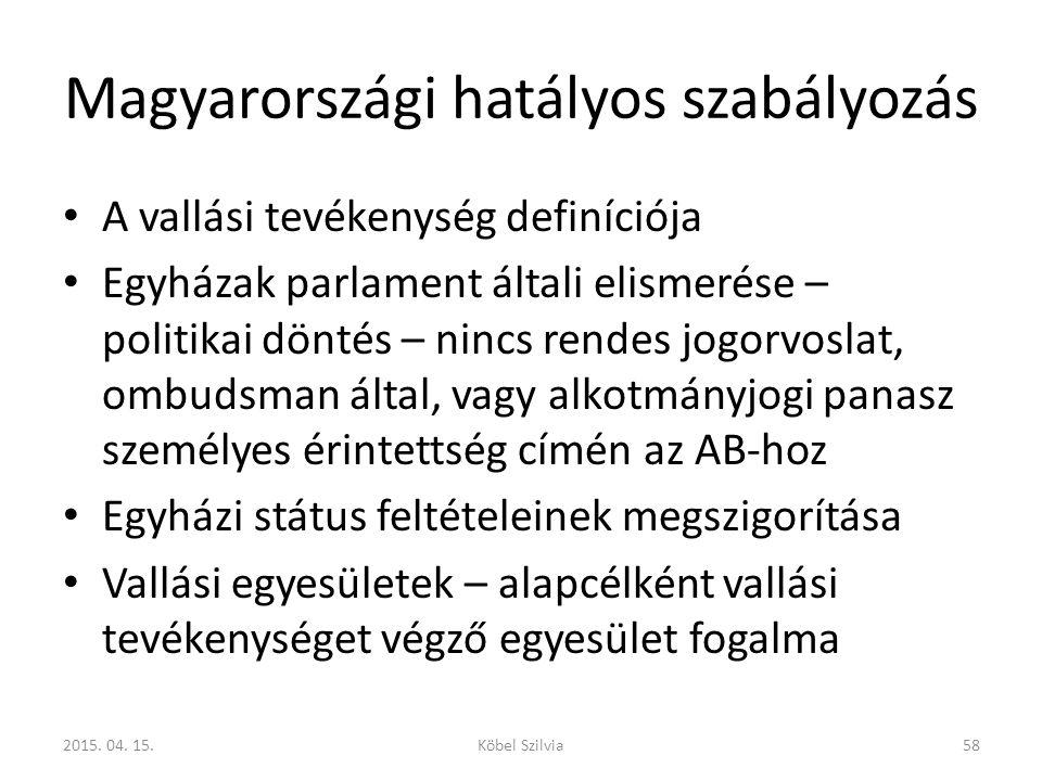 Magyarországi hatályos szabályozás A vallási tevékenység definíciója Egyházak parlament általi elismerése – politikai döntés – nincs rendes jogorvosla