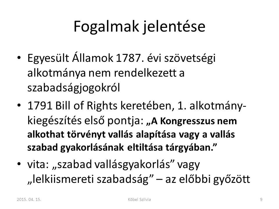 Fogalmak jelentése A magyar jogrendszerben a menekültügyi törvény tartalmazott egy normatív definíciót, de az egyházi nyilvántartásba vételnél a bírói gyakorlat is kialakított már egy fogalmat az elmúlt években, majd az új egyházi törvény definiálta a vallási tevékenységet: 202015.