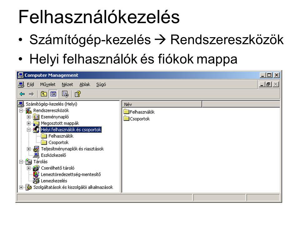 Felhasználókezelés Számítógép-kezelés  Rendszereszközök Helyi felhasználók és fiókok mappa