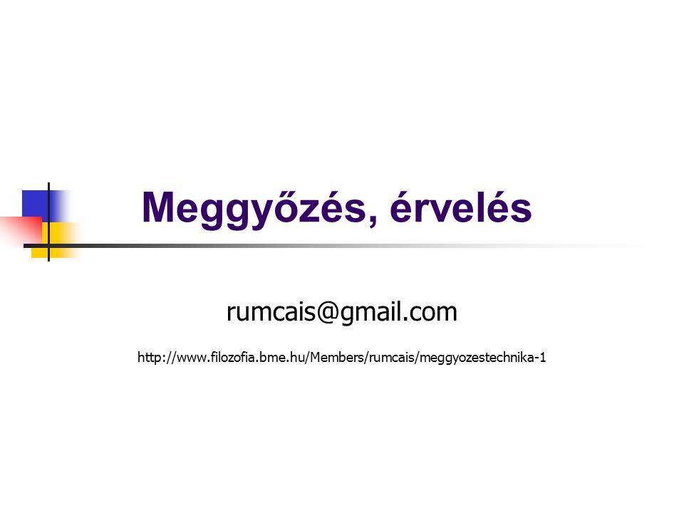 Meggyőzés, érvelés rumcais@gmail.com http://www.filozofia.bme.hu/Members/rumcais/meggyozestechnika-1