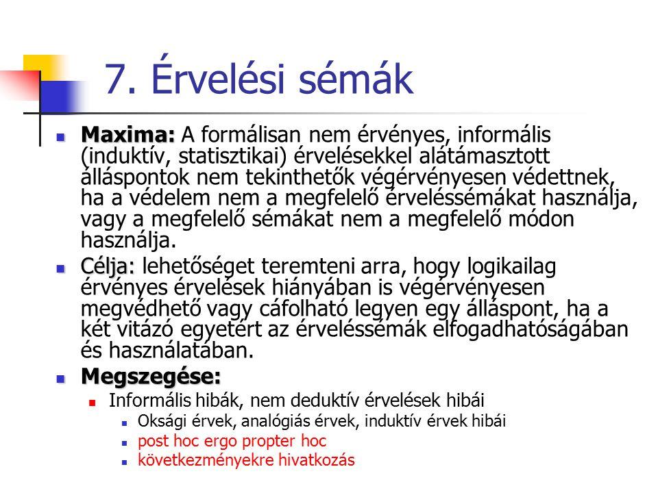 7. Érvelési sémák Maxima: Maxima: A formálisan nem érvényes, informális (induktív, statisztikai) érvelésekkel alátámasztott álláspontok nem tekinthető