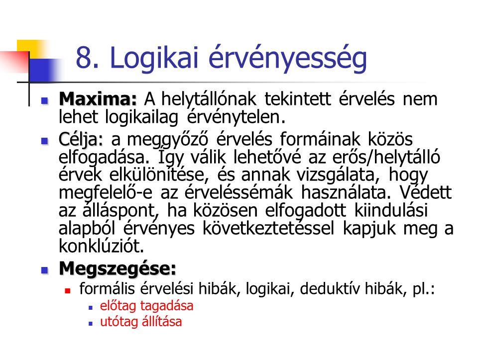 8. Logikai érvényesség Maxima: Maxima: A helytállónak tekintett érvelés nem lehet logikailag érvénytelen. Célja: Célja: a meggyőző érvelés formáinak k