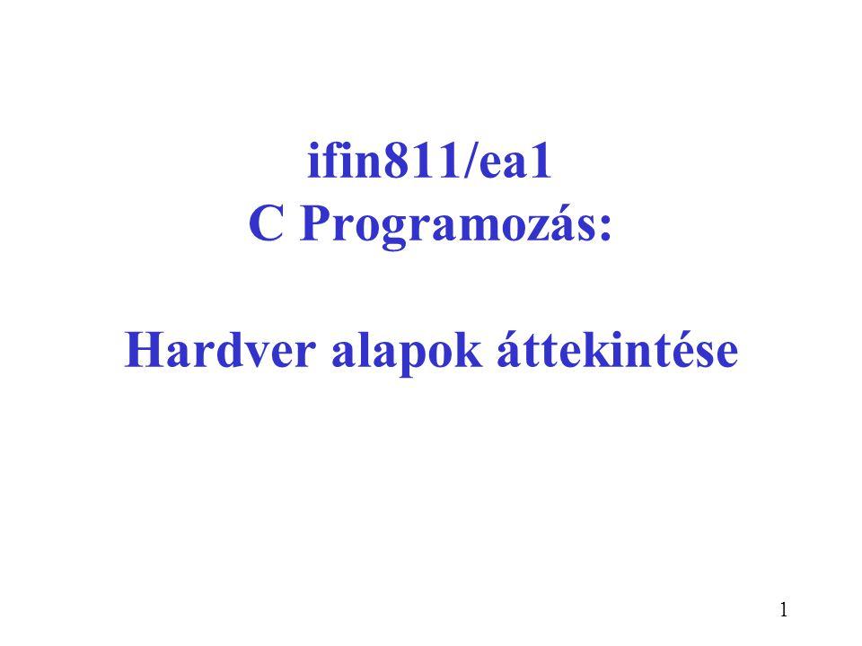 1 ifin811/ea1 C Programozás: Hardver alapok áttekintése