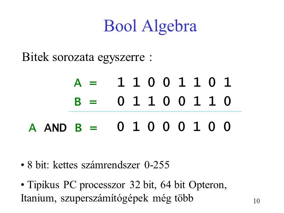 10 Bool Algebra A = Bitek sorozata egyszerre : 1 1 0 0 1 1 0 1 B = 0 1 1 0 0 1 1 0 A AND B = 8 bit: kettes számrendszer 0-255 Tipikus PC processzor 32
