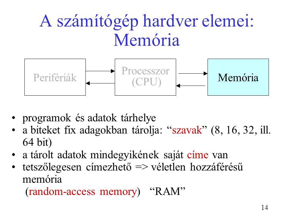 """14 A számítógép hardver elemei: Memória programok és adatok tárhelye a biteket fix adagokban tárolja: """"szavak"""" (8, 16, 32, ill. 64 bit) a tárolt adato"""