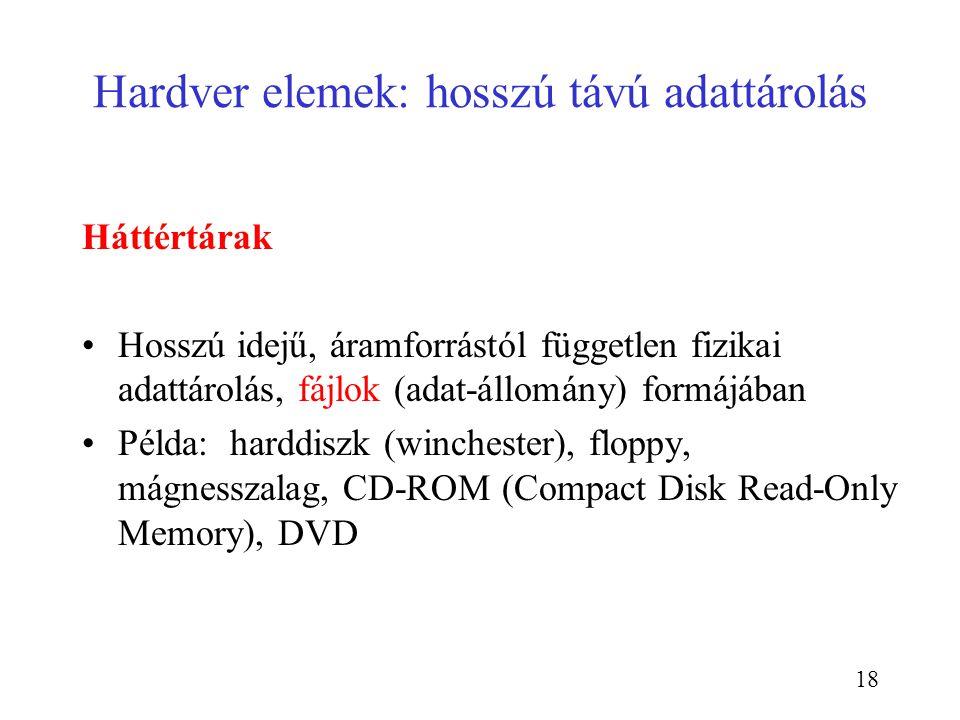 18 Hardver elemek: hosszú távú adattárolás Háttértárak Hosszú idejű, áramforrástól független fizikai adattárolás, fájlok (adat-állomány) formájában Pé