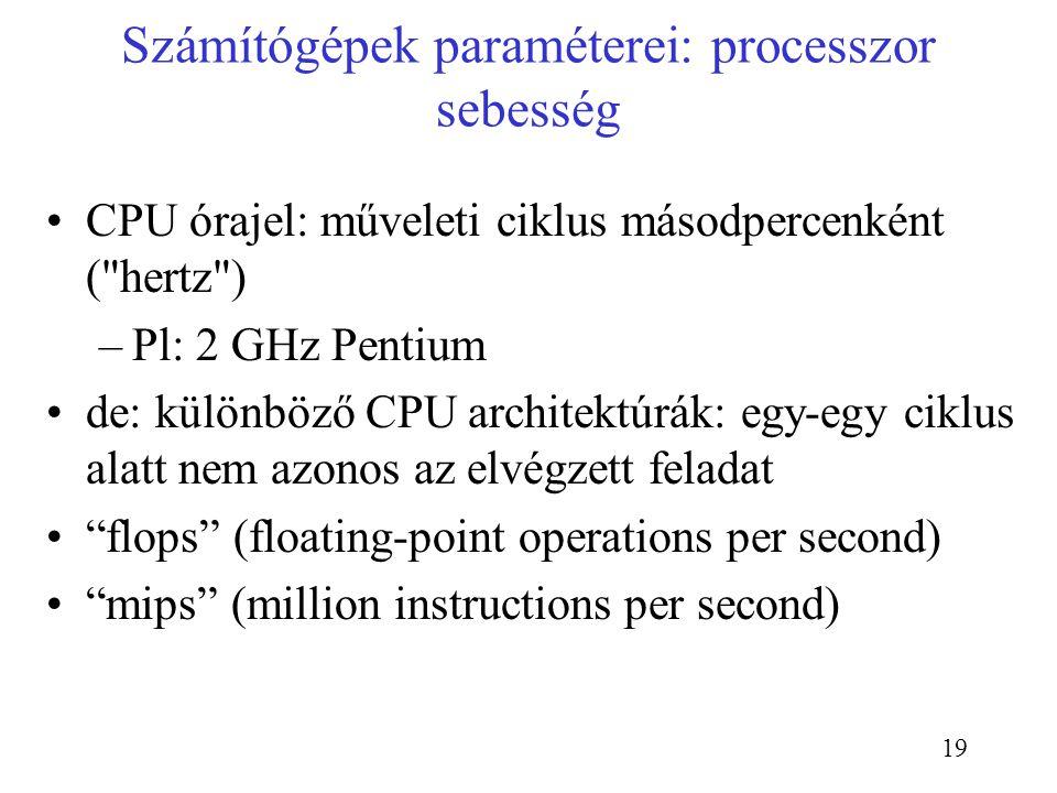 19 Számítógépek paraméterei: processzor sebesség CPU órajel: műveleti ciklus másodpercenként (