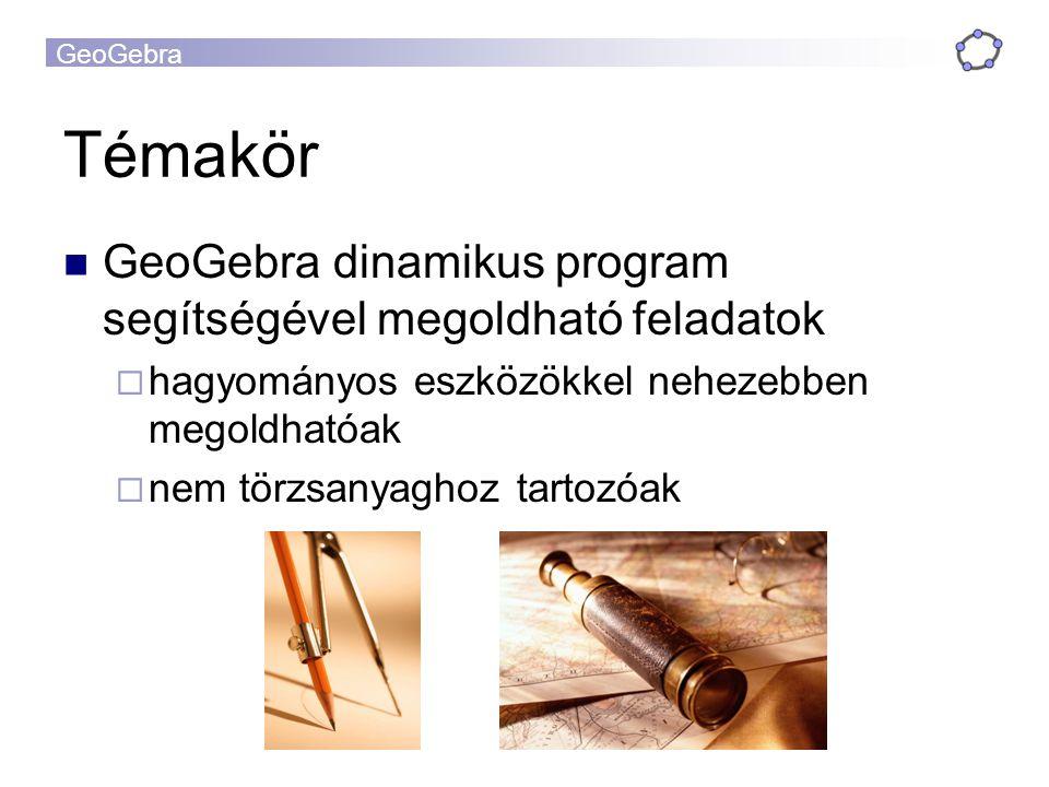 GeoGebra Témakör GeoGebra dinamikus program segítségével megoldható feladatok  hagyományos eszközökkel nehezebben megoldhatóak  nem törzsanyaghoz ta