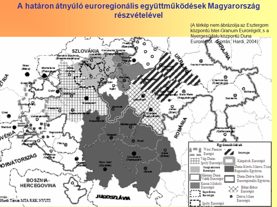 13 A határon átnyúló euroregionális együttműködések Magyarország részvételével (A térkép nem ábrázolja az Esztergom központú Ister-Granum Eurorégiót,