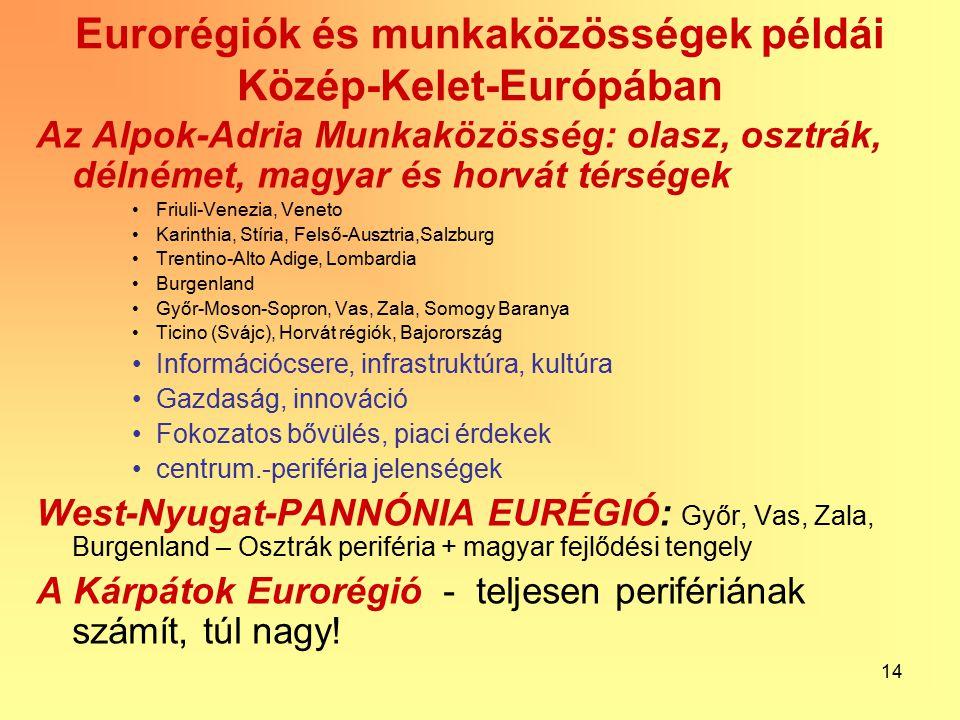 14 Eurorégiók és munkaközösségek példái Közép-Kelet-Európában Az Alpok-Adria Munkaközösség: olasz, osztrák, délnémet, magyar és horvát térségek Friuli