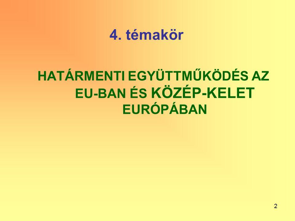 13 A határon átnyúló euroregionális együttműködések Magyarország részvételével (A térkép nem ábrázolja az Esztergom központú Ister-Granum Eurorégiót, s a Nyergesújfalu központú Duna Eurorégiót.