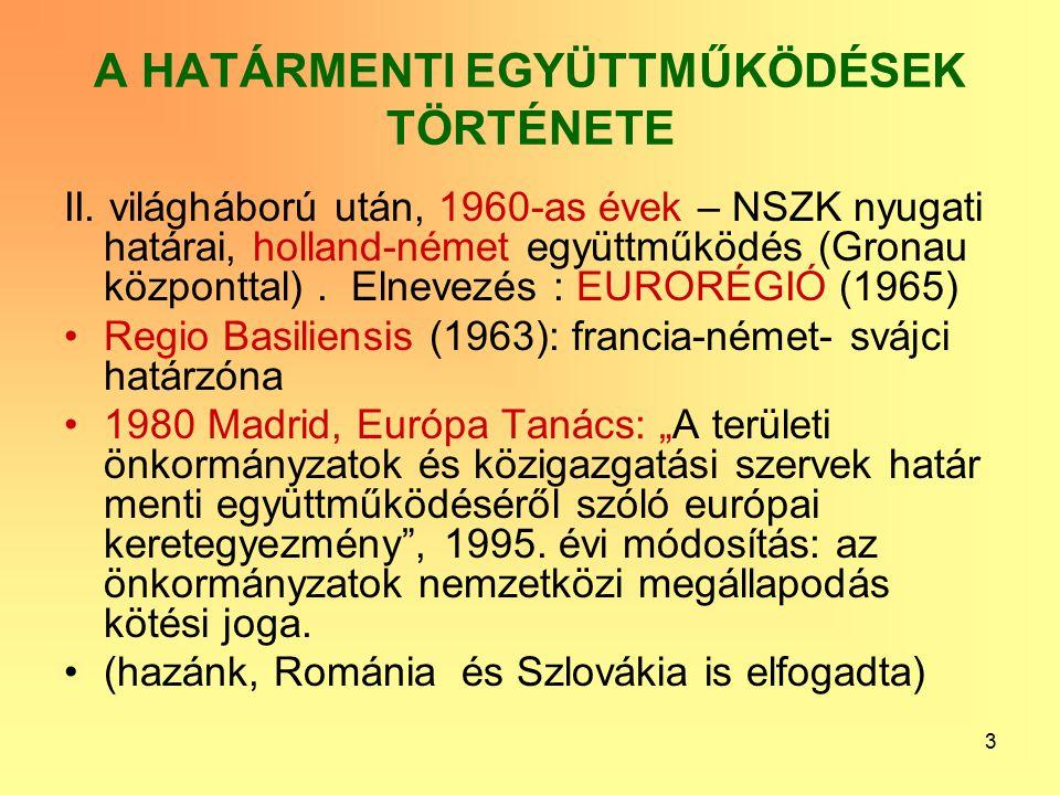 3 A HATÁRMENTI EGYÜTTMŰKÖDÉSEK TÖRTÉNETE II.