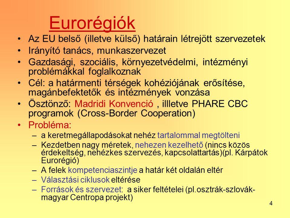 4 Eurorégiók Az EU belső (illetve külső) határain létrejött szervezetek Irányító tanács, munkaszervezet Gazdasági, szociális, környezetvédelmi, intézményi problémákkal foglalkoznak Cél: a határmenti térségek kohéziójának erősítése, magánbefektetők és intézmények vonzása Ösztönző: Madridi Konvenció, illletve PHARE CBC programok (Cross-Border Cooperation) Probléma: –a keretmegállapodásokat nehéz tartalommal megtölteni –Kezdetben nagy méretek, nehezen kezelhető (nincs közös érdekeltség, nehézkes szervezés, kapcsolattartás)(pl.