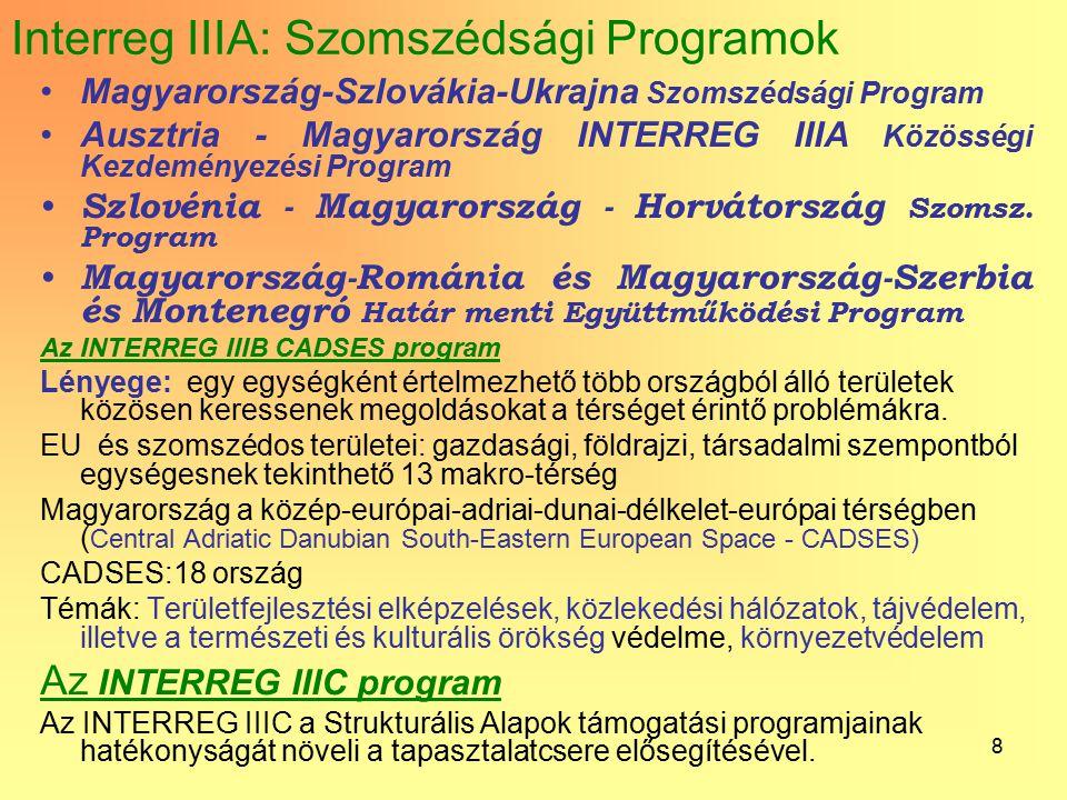 8 Interreg IIIA: Szomszédsági Programok Magyarország-Szlovákia-Ukrajna Szomszédsági Program Ausztria - Magyarország INTERREG IIIA Közösségi Kezdeménye