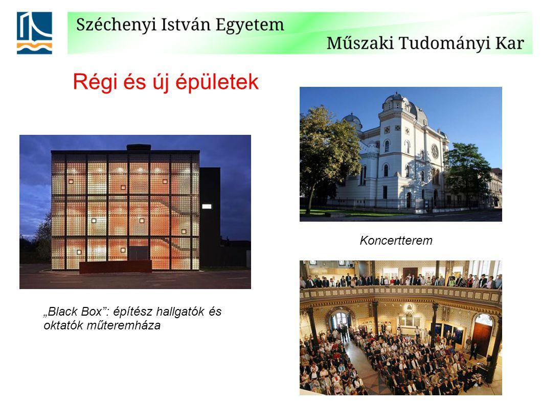 """Régi és új épületek """"Black Box : építész hallgatók és oktatók műteremháza Koncertterem"""