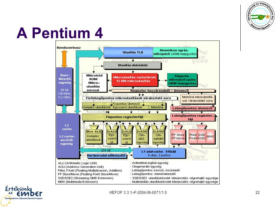 HEFOP 3.3.1–P-2004-06-0071/1.022 A Pentium 4