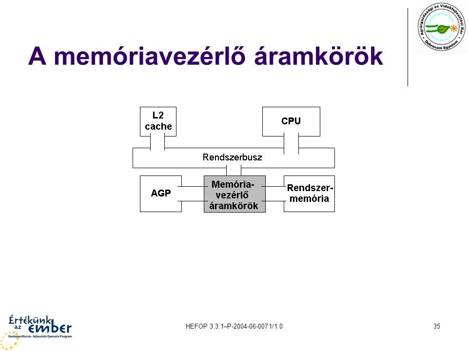 HEFOP 3.3.1–P-2004-06-0071/1.035 A memóriavezérlő áramkörök