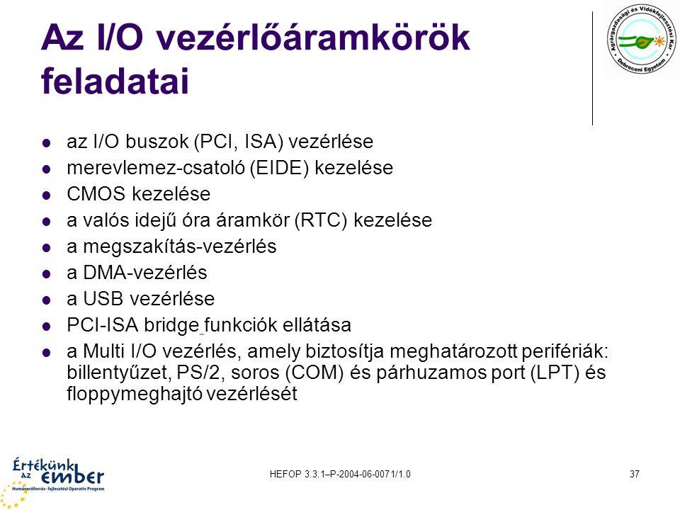HEFOP 3.3.1–P-2004-06-0071/1.037 Az I/O vezérlőáramkörök feladatai az I/O buszok (PCI, ISA) vezérlése merevlemez-csatoló (EIDE) kezelése CMOS kezelése