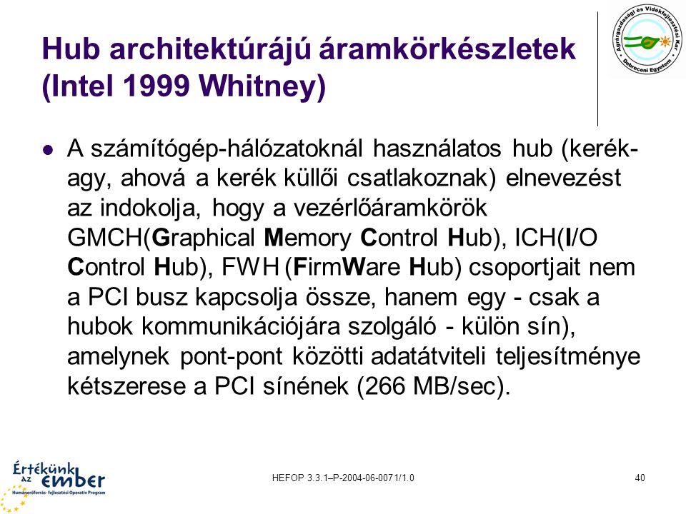 HEFOP 3.3.1–P-2004-06-0071/1.040 Hub architektúrájú áramkörkészletek (Intel 1999 Whitney) A számítógép-hálózatoknál használatos hub (kerék- agy, ahová