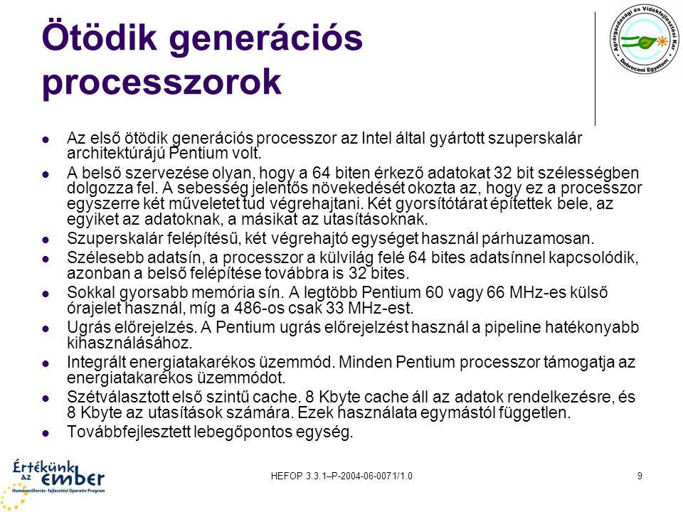 HEFOP 3.3.1–P-2004-06-0071/1.020 Az AMD K7 processzora