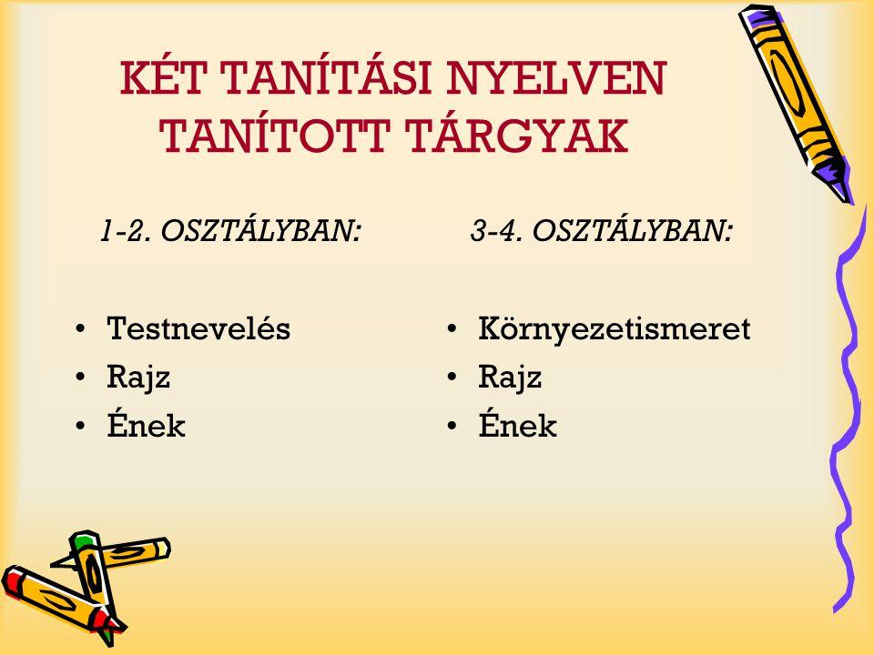KÉT TANÍTÁSI NYELVEN TANÍTOTT TÁRGYAK 5-6.